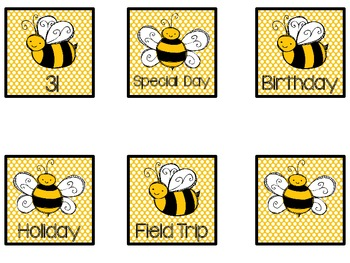 Bee Theme Calendar Cards