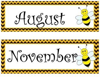 Bee Theme Calendar - Months