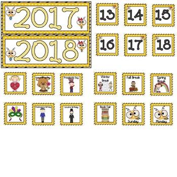 Bee Theme Calendar Numbers, Months, Days, Seasons