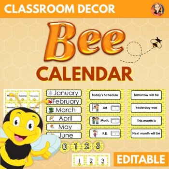 Bee Theme Calendar and Class Schedule - Editable