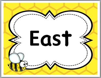 Bee Theme Classroom Decor Cardinal Directions Signs