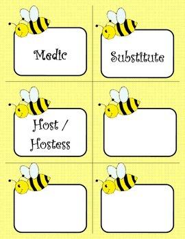 Bee Theme Class Job Labels