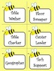 Bee Theme Class Job Labels