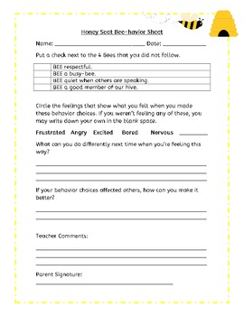 Bee Theme Classroom Behavior System