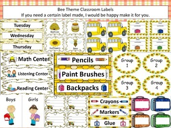 Bee Theme Classroom Labels