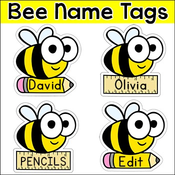 Bee Theme Classroom Decor Name Tags Labels 748774 on Name Tag Template With Animals 9