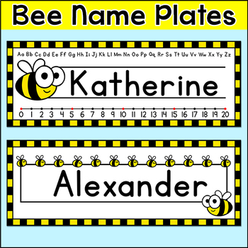 Bee Theme Name Plates - Editable