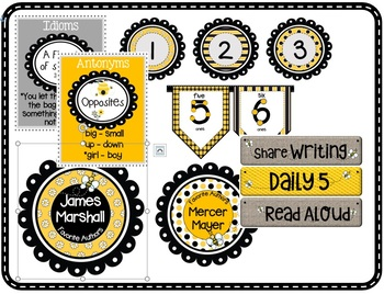 Bee Theme Classroom Printables