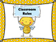 Bee Theme Classroom Rules -yellow polka dot background
