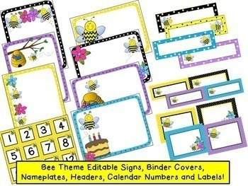 Bee Theme Classroom:  Signs, Labels, Binder Covers, and More! {Editable!}