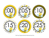 Bee Theme Clock Number Labels