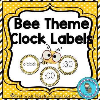 Bee Theme Clock Number and Labels