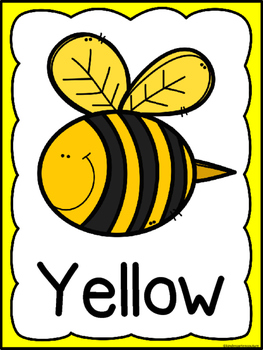 Bee Theme Color Word Posters