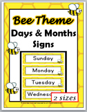 Bee Theme Classroom Decor Days of the Week Labels & Months of the Year Labels