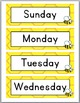 Bee Theme Days and Months Signs with Primary Font