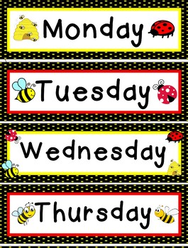 Bee Theme Days of the Week EDITABLE