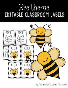 Bee Theme Editable Classroom Labels