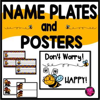 Name Plates Posters Bee Themed Decor