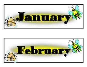 Bee Calendar! Bee Bulletin Board! Bee Theme Decor! Bee Interactive Wall Calendar