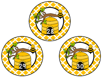Bee Theme Numbers 1-30 FREE