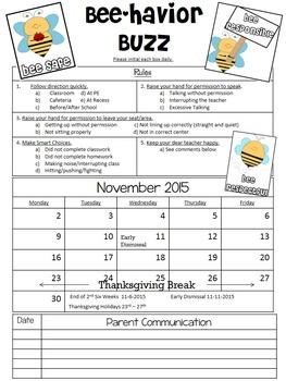 Bee Theme Monthly Behavior Chart (Editable)