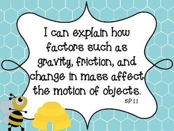 """Bee Theme NC Essential Standards Science Fifth Grade """"I Ca"""