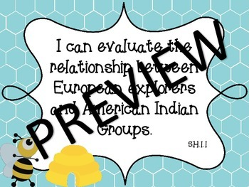"""Bee Theme NC Essential Standards Social Studies Fifth Grade """"I Can"""" Statements"""