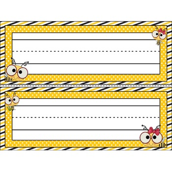 Bee Theme Name Plates Editable