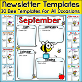 Monthly Newsletter Template Editable - Bee Theme Classroom