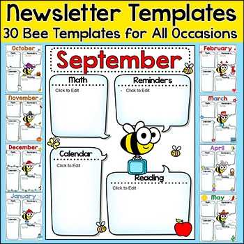 Newsletter Template - Bee Theme Classroom