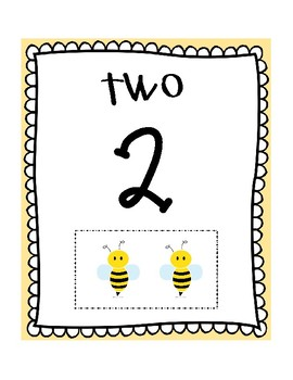 Bee Theme Number Cards 1-10