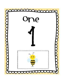 Bee Theme Number Cards 1-30