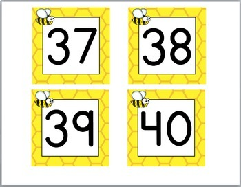 Bee Theme Classroom Decor Number Labels 1 - 40