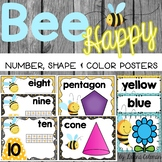 Bee Theme Number, Shape & Color Posters
