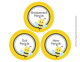 Bee Theme Pencil Caddy Labels