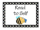 Bee Theme Reading Center Signs