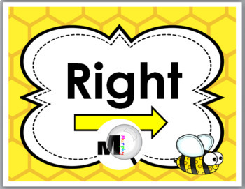 Bee Theme Classroom Decor - Right & Left Posters - Positional Words