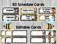 Bee Theme Schedule Cards {Editable}