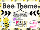 Bee Theme Shape, Color & Number Posters