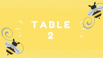 Bee Theme Table Labels