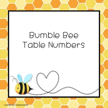 Bee Theme Table Labels Numbers and Colors
