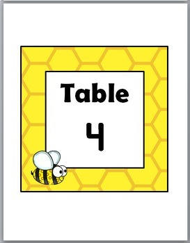 Bee Theme Classroom Decor Table Number Labels