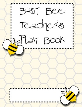 Bee Theme Teacher Plan Book