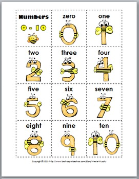 Bee Theme Classroom Decor - Ten Frame Matching - Numbers 1-20