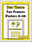 Bee Theme Classroom Decor Ten Frame Number Posters 1-30