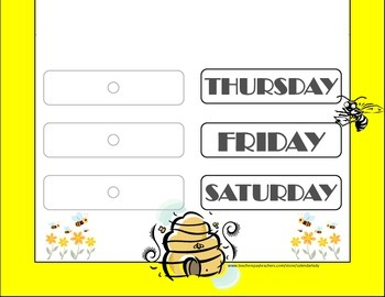 Bee Theme Weekday Chart! Bees Bulletin Board! Bees Theme Days of the Week!