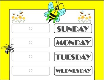 Bee Theme Weekday Chart! Bees Bulletin Board! Bees Theme D
