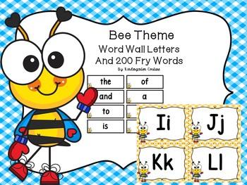 Bee Theme Word Wall & 200 Fry Words Editable