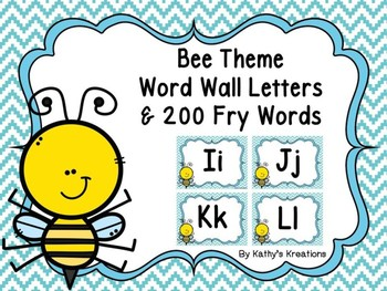 Bee Word Wall Letters and 200 Fry Words