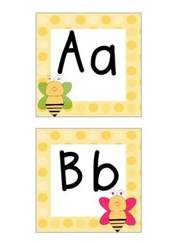 Word Wall Letters and Alphabet Heading Bee Theme